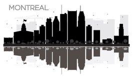 Silhueta preto e branco da skyline da cidade de Montreal com reflexão ilustração royalty free