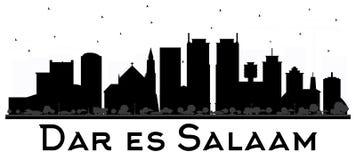 Silhueta preto e branco de Dar Es Salaam Tanzania Skyline Imagens de Stock Royalty Free