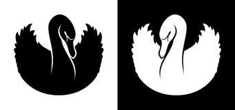 Silhueta preto e branco do ícone das cisnes ilustração do vetor