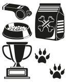 Silhueta preto e branco do cartaz do cuidado do cão ilustração royalty free