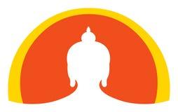 Silhueta principal de Buddha Imagem de Stock Royalty Free