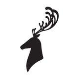 Silhueta principal dos alces da ilustração do vetor dos cervos Fotografia de Stock