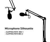 Silhueta profissional do microfone do estúdio Fotografia de Stock Royalty Free