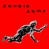 A silhueta que preta um soldado do zombi no capacete é rasteja em todos os fours Ilustração do vetor ilustração royalty free