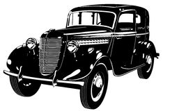 Silhueta retro do carro do vetor ilustração do vetor