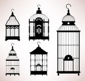 Silhueta retro do vintage do birdcage da gaiola de pássaro ilustração stock