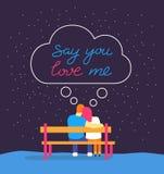 A silhueta romântica de pares de amor senta-se no banco sob o céu noturno Diga-o amar-me entregar a rotulação tirada da tipografi ilustração stock