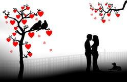 Silhueta romântica dos pares ilustração do vetor