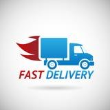 Silhueta rápida do caminhão do transporte do símbolo da entrega Imagens de Stock