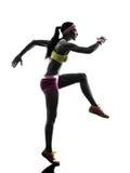 Silhueta running do corredor da mulher Imagem de Stock