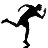 Silhueta running do corredor do homem fotografia de stock royalty free