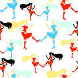 Silhueta sem emenda da dança do disco da menina do teste padrão uma figura Vetor Imagens de Stock