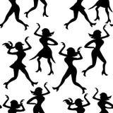 Silhueta sem emenda da dança do disco da menina do teste padrão uma figura Vetor Foto de Stock