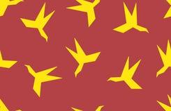 Silhueta sem emenda do teste padrão do pássaro de papel do origâmi Fotos de Stock