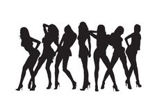 Silhueta 'sexy' das meninas. Imagem de Stock Royalty Free
