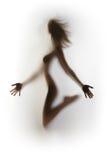 Silhueta 'sexy', perfeita da mulher do corpo foto de stock