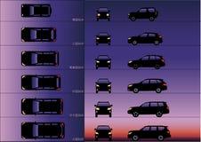 A silhueta urbana dos carros de esportes imagem de stock royalty free