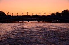 Silhueta velha da ponte Foto de Stock Royalty Free