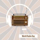 Silhueta velha do rádio e dos fones de ouvido no fundo retro Fotos de Stock Royalty Free