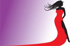 Silhueta vermelha do vestido Imagem de Stock