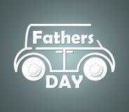 Silhueta volumétrico do contorno do carro com texto congratulatório inscrito no dia de pais ilustração stock