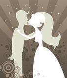 Silhueta Wedding do beijo Fotografia de Stock Royalty Free