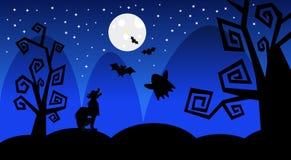 A silhueta Wolf Earn On Moon Scary sombreia o feriado feliz do conceito da doçura ou travessura da bandeira de Dia das Bruxas ilustração do vetor