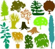 Silhuetas 02 da árvore ilustração do vetor