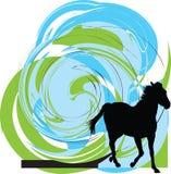 Silhuetas abstratas dos cavalos. ilustração royalty free
