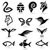 Silhuetas animais abstratas dos ícones Fotografia de Stock Royalty Free