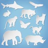 Silhuetas animais de papel Fotografia de Stock
