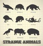 Silhuetas animais estranhas ilustração do vetor