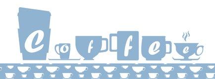 Silhuetas azuis do copo de café com letras e amostra de folha sem emenda do teste padrão do copo de café Foto de Stock