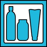 Silhuetas azuis dos cosméticos em um quadro Fotografia de Stock