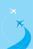 Silhuetas brancas de aviões do jato Fotografia de Stock