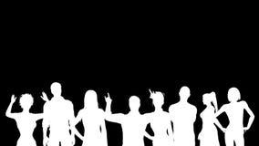 Silhuetas brancas de fãs cheering Alpha Channel 4K ilustração stock