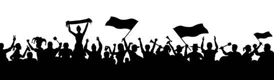 Silhuetas cheering dos povos da multidão ilustração royalty free