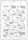 Silhuetas cinzentas dos cães Fotografia de Stock Royalty Free