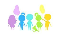 Silhuetas coloridas das crianças Imagem de Stock