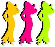 Silhuetas coloridas das mulheres ilustração stock