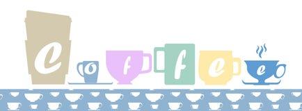 Silhuetas coloridos do copo de café de formas diferentes com amostra de folha sem emenda do teste padrão do copo de café Fotografia de Stock