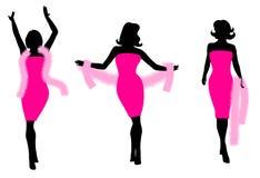 Silhuetas cor-de-rosa da boa de pena do vestido ilustração stock