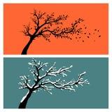 Silhuetas da árvore ilustração do vetor