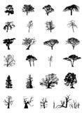 Silhuetas da árvore ajustadas ilustração royalty free