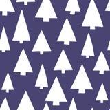 Silhuetas da árvore brancas em um escuro - fundo azul Teste padrão moderno da árvore de Natal Teste padrão sem emenda do vetor Ap ilustração stock