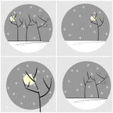 Silhuetas da árvore com grupo da neve Imagens de Stock