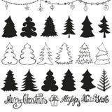 Silhuetas da árvore de Natal lettering preto ilustração royalty free