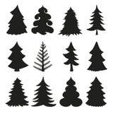 Silhuetas da árvore de Natal preto ilustração royalty free