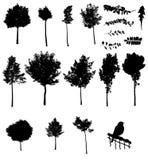 Silhuetas da árvore do vetor Fotos de Stock Royalty Free