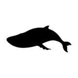 Silhuetas da baleia azul preto e branco Imagem de Stock